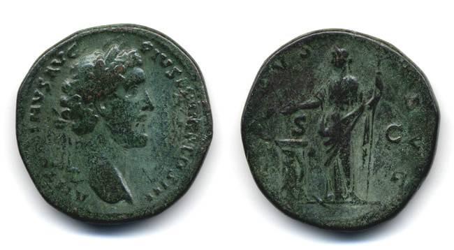 Ancient Coins - Antoninus Pius Sestertius, VF, Nice Large Flan