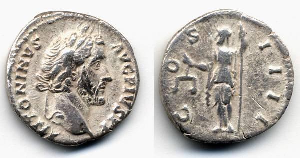 Ancient Coins - Antoninus Pius AR Denarius, VF, Aequitas