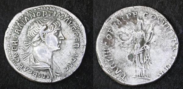 """Ancient Coins - Trajan AR Denarius, VF+, """"Felicitas"""""""