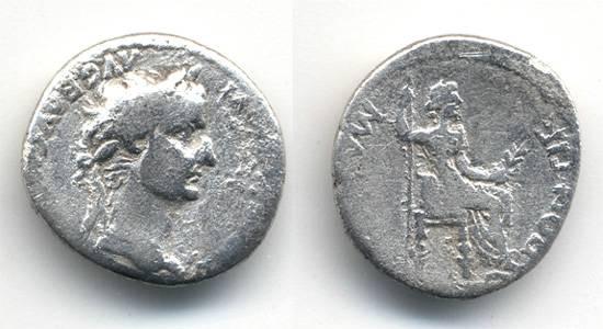 Ancient Coins - Tiberius Denarius, F, TRIBUTE PENNY, 14 -37 C.E.