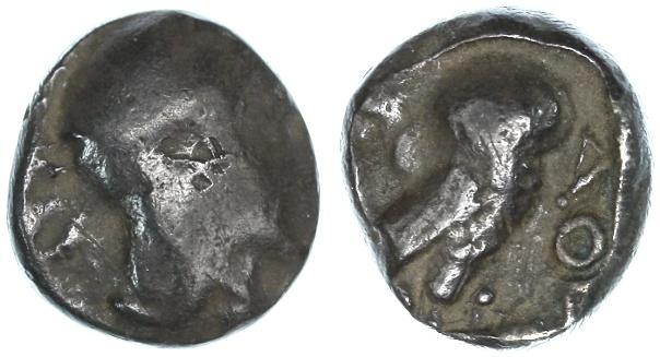 Ancient Coins - Ashkelon countermarked Gaza Philistian Drachm, Exceptionally RARE, 5th  - 4th Century B.C.E.