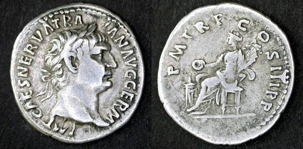 Ancient Coins - Trajan early AR Denarius, VF, Scarcer inscription, Nice centering