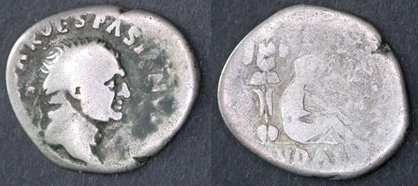 Ancient Coins - Vespasian, Judaea Capta, AR Denarius