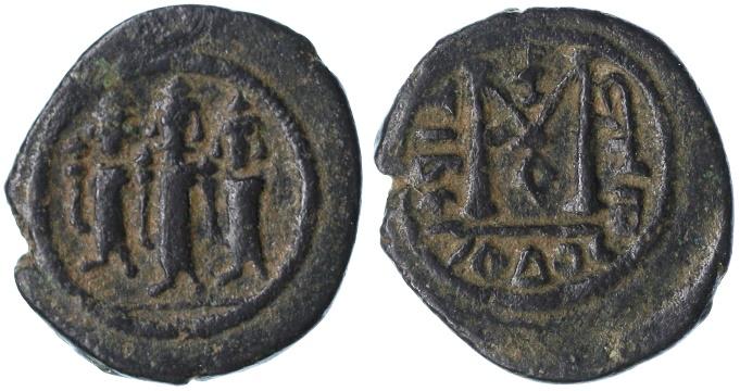 World Coins - Umayyad period Arab-Byzantine AE Fals, GVF, Tiberias / Tabariya Mint