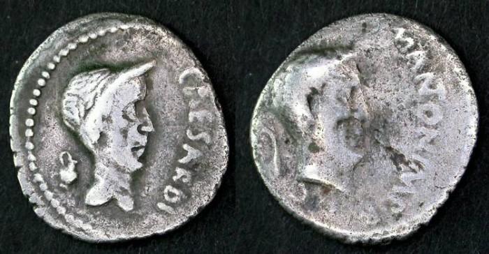 Ancient Coins - Marc Antony and Julius Caesar Portrait  SCARCE Denarius, F/VF