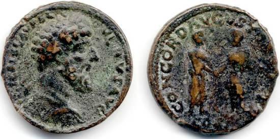 """Ancient Coins - Lucius Verus Sestertius,  VF/AVF, """"CONCORD"""" Marcus Aurelius and Lucius Verus shaking hands"""