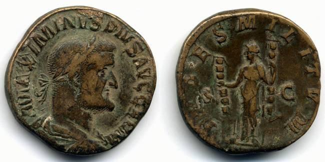 "Ancient Coins - Maximinus I Thrax, Near VF, ""FIDES"" Sestertius"