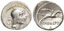 Ancient Coins - Rome Republic, C. Calpurnius Piso Frugi AR Denarius, GVF/EF, 61 B.C.E.