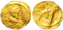 Ancient Coins - Tiberius II Constantine AV Gold Tremissis, Very Fine, 578 - 582 C.E.