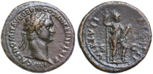"Ancient Coins - Domitian AE AS, GVF, ""Medallic flan"" - outstanding portrait, Circa. 87 C.E."