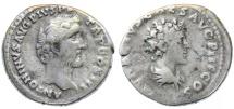 Ancient Coins - Antoninus Pius & Marcus Aurelius AR Denarius, AVF, 140 C.E.