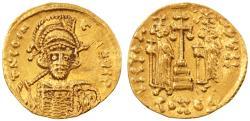 Constantine IV Pogonatus with Heraclius and Tiberius AV Gold Solidus, EF, 674 - 681 C.E.