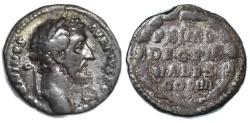 """Ancient Coins - Antoninus Pius AR Denarius, AVF, RARE """"Decennales"""" 147/148 C.E."""