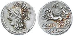Ancient Coins - C. Coelius Caldus AR Denarius, About Extremely Fine, 104 B.C.E.