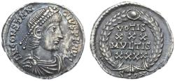 Ancient Coins - Constantius II AR Siliqua, Extremely Fine, Toned, Ex: 1887 Harptree hoard, 353 - 355 C.E.