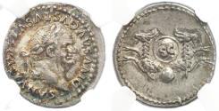 Ancient Coins - Vespasian AR Denarius by Titus, NGC Encapsulated AU, Circa. 80/81 C.E.