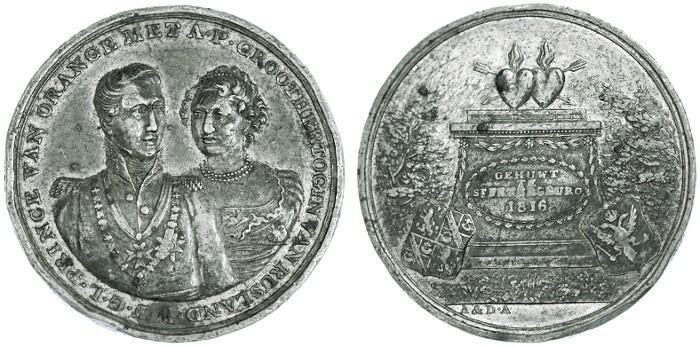 Ancient Coins - Alexander I Medal, Russia, EXTREMELY RARE, Very Fine, Marriage of Anna Paulowna & Wilem Crown prince of the Netherlands, 1816