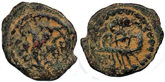 Ancient Coins - Herod Archealaus AE Prutah, Scarce AVF, 4 B.C.E. - 6 C.E.