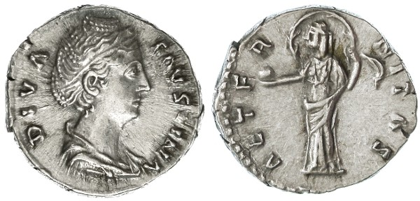 "Ancient Coins - Faustina Sr. AR Denarius, Near Extremely Fine, ""Aeternitas"", after 141 C.E."