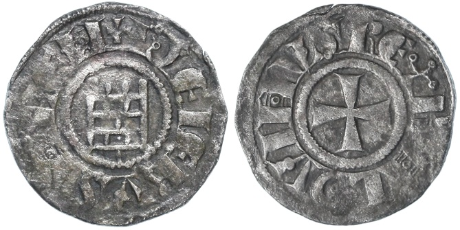 "Ancient Coins - Crusader Kingdom of Jerusalem, Baldwin III AR Denier, ""Tower of David"", VF, 1143 - 1163 C.E."