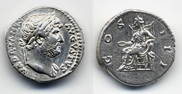 Ancient Coins - Hadrian Denarius, Concordia, VF+