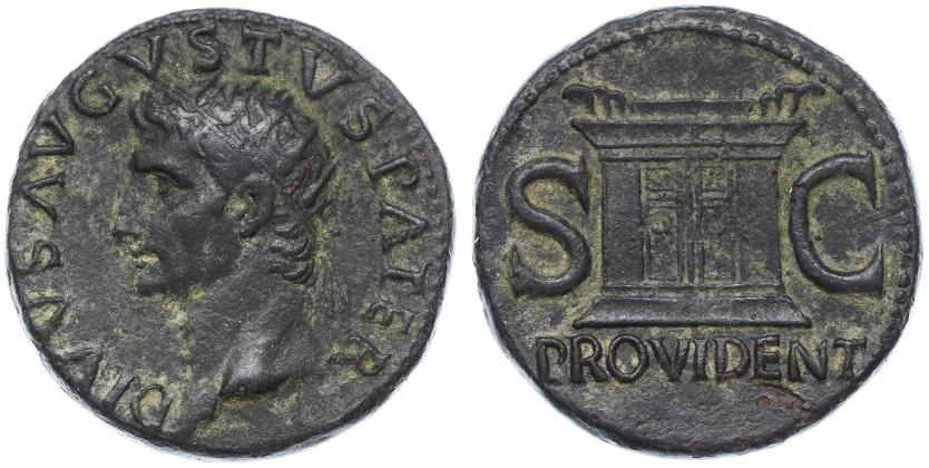 Ancient Coins - Divus Augustus AE Dupondius by Tiberius, Near EF, 22 - 30 C.E.