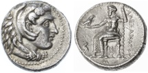 Alexander the Great AR LIFETIME Tetradrachm, RARE - Apparently Unpublished variety, GVF, Babylon, 325 - 323 B.C.E.