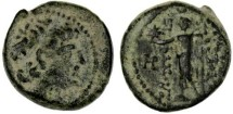 Ancient Coins - Antiochos VIII AE, RARE, Choice VF under thick earthen patina, Damascus mint? see notes,  121 - 96 B.C.E.