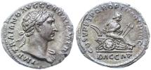 Ancient Coins - Trajan AR Denarius, Toned About Extremely Fine, Pedigreed, 103 - 111 C.E.