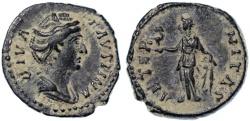 Ancient Coins - Faustina Sr. AR Denarius, AEF with original hoard patina!, after 141 C.E.
