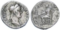 Ancient Coins - Sabina AR Denarius, AVF, 135 - 138 C.E.