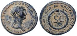 """Ancient Coins - Trajan AE Semis, """"War of Quietus"""", About Extremely Fine, 115/116 C.E."""