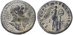 Ancient Coins - Trajan AE Sestertius, VF+ original patina, 104 - 107 C.E.
