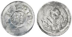 "World Coins - Stefan V (Istvan) AR Obol, Hungary, by Jewish Mintmaster with Hebrew letter ""Aleph"", Very Fine, 1270 - 1272 C.E."
