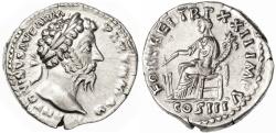 Ancient Coins - Marcus Aurelius AR Denarius, About Extremely Fine, 168 C.E.