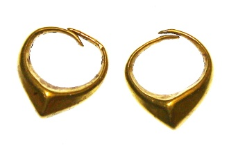 Ancient Coins - Greek Hellenistic GOLD Child's earrings, Excellent Condition, 3rd - 1st Century B.C.E.