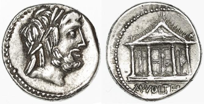 Ancient Coins - M. Volteius M.f. AR Denarius, VF+, SCARCE, Temple of Jupiter Capitoline, 78/75 B.C.E.