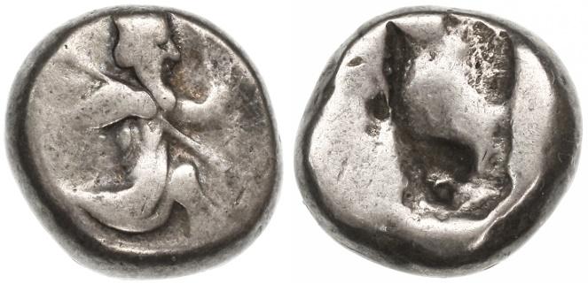 Ancient Coins - Lydia, Persia, Achaemenid Kings AR Siglos, 485 - 420 B.C.E.