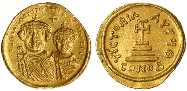 Ancient Coins - Heraclius and Heraclius Constantine AV Solidus, AEF, 629 - 631 C.E.