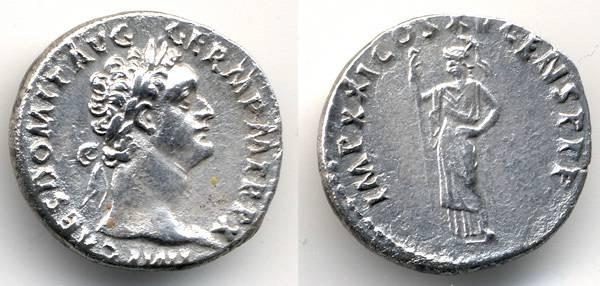 Ancient Coins - Domitian AR Denarius, AEF, 90/91 C.E., Sharp
