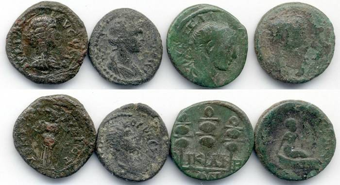 Ancient Coins - Lot of 4 Provincial AE, 15mm - 19mm, mixed grades/periods, GREAT Stocking Stuffer