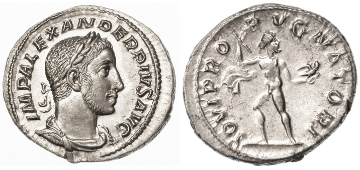 Ancient Coins - Severus Alexander AR Denarius, Near MINT State, Pedigreed!, 232 C.E.