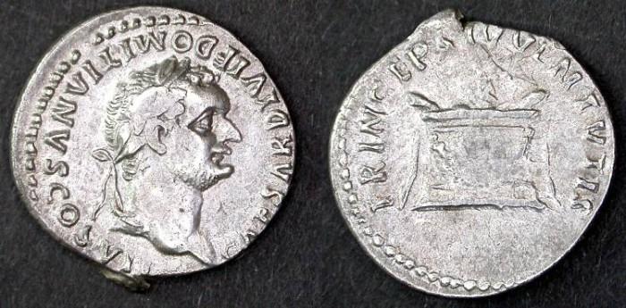 Ancient Coins - Domitian AR Denarius as Caesar under Titus, VF