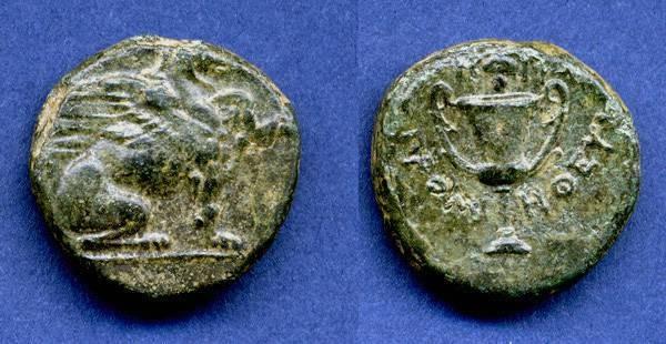 Ancient Coins - Ionia,Teos, AE17, 4th Century B.C.E., VF+, Griffin & Kantharos