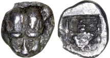 Ancient Coins - Macedon AR Tetartemorion, Very RARE - BOLD VF see notes, Lion head facing, 5th Century B.C.E.