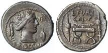 Ancient Coins -  L. Furius Cn.f. Brocchus AR Denarius, Toned GVF, 63 C.E..
