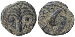 Ancient Coins - Coponius Prefect under Tiberius AE Prutah, Scarce AVF, CLEAR date, 5/6 C.E.
