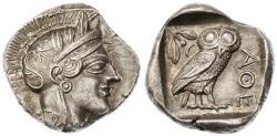 Ancient Coins - Attica, Athens AR Tetradrachm, CHOICE EF with FULL Crest, 455 - 404 BCE