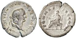 Ancient Coins - Vespasian AR Denarius, GVF, Very Large Flan, 75 C.E.