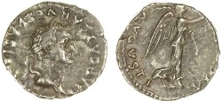 Ancient Coins - Vespasian AR Quinarius, RARE, VF, Circa. 75 C.E., see notes